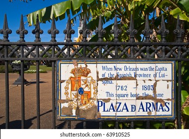 Old sign at Jackson Square in the French Quarter of New Orleans