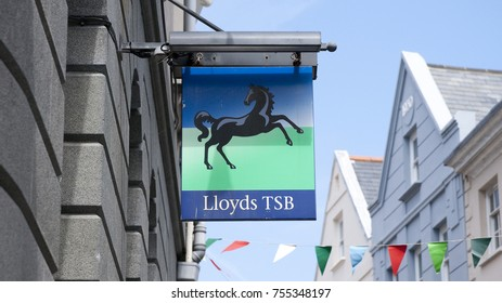 Old sign for Lloyds TSB before the bank split on the High Street in the town of St Pierre Port (St Peter Port), the main settlement of Guernsey, The Channel Islands, UK - 11th July 2013