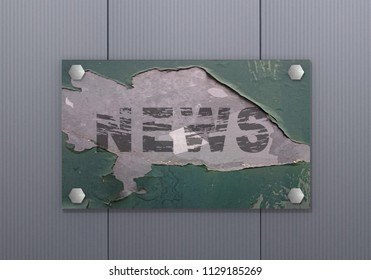 old sign with the text News hanging on a wall. 3d rendering