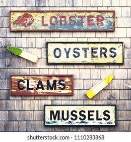 Old signs and fishing floats on a wooden shingle wall. Seafood notices for lobsters, mussels,oysters and clams.