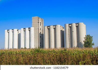 Old silage in city of Vukovar damaged in war 1991 with a blue sky in the background