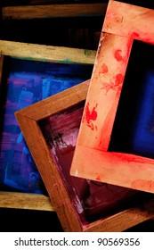 old silk screen frames