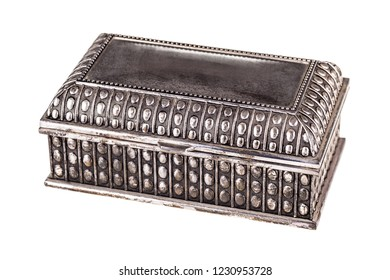 an old silver casket isolated over a white background