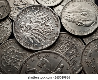 old silver coins background