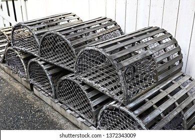 Old silver color metalic cages for lobster and crab fishing.
