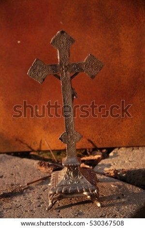 separation shoes cute buying new Old Silver Cross Body Jesus Christ Stock Photo (Edit Now ...
