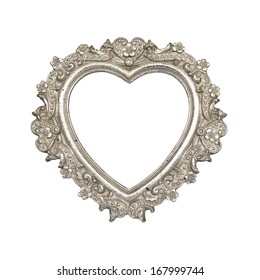 Old silver heart picture frame isolated on white with clipping path.