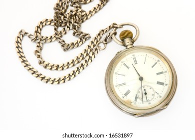 Old silver pocket watch with fob.