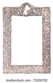 old silver shiny frame with rich ornament for mirror
