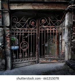 Old skewed forged gates