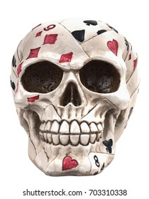 Old skull, vintage with cards