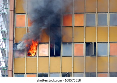 old skyscraper in fire