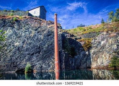 Old slate quarry that has filled up with water Thuringia / Germany