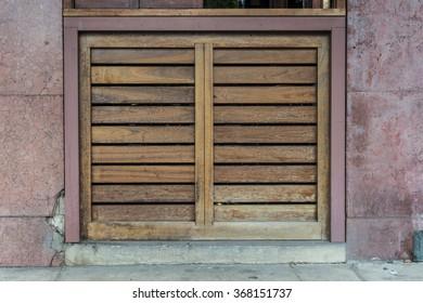 old slated window wooden