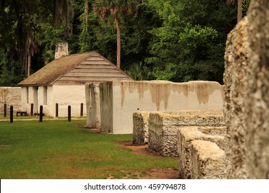 Old slave cabins at the Kingsley Plantation in the Timucuan Ecological and Historic National Preserve in Jacksonville, Florida