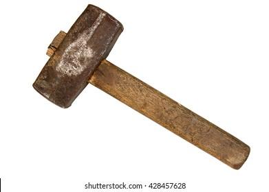 Old sledgehammer isolated on white background