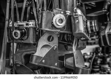 Old slr film cameras. Black and white.