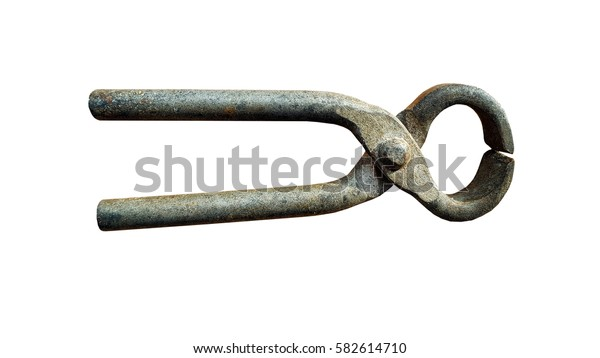 Old small pliers isolated on white background