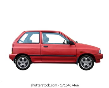 old small red car in a white background