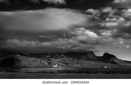 Old small wooden church in Hellnar, Snaefellsnes peninsula, Iceland. Black and white vintage style.
