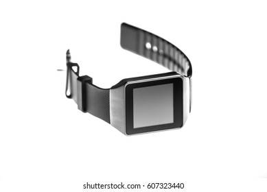 old smart watch on white background
