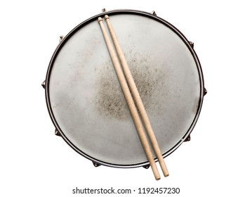 Old snare drum with drumsticks top view isolated on white