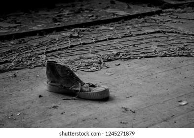 Old sneakers in Pripyat school, Chernobyl Exclusion Zone