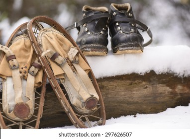 Old snowshoes to walk in the snow