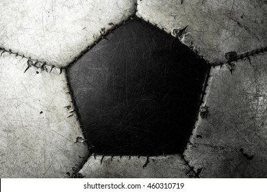 Old soccer ball extreme closeup