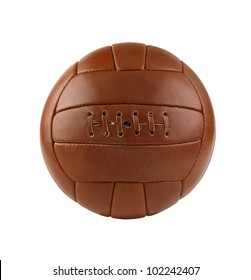 old soccer ball isolated on white background