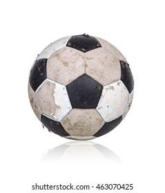 Old soccer ball on white background.