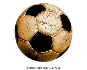 Old soccerball on white background.
