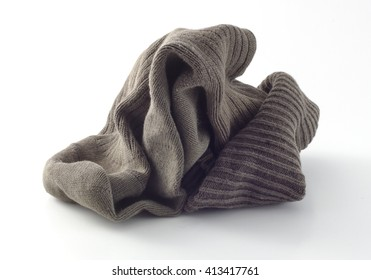 A old sock isolated on white background. copy space