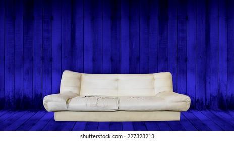 old sofa in room
