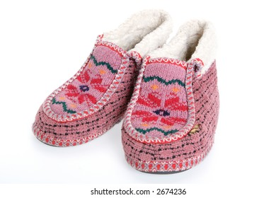 Old Soft Fur Warm Slippers for House