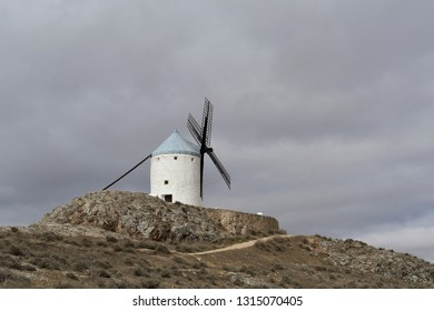 Old solitary windmill on hill