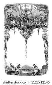 Old songs choice, vintage engraved illustration. Magasin Pittoresque 1846.