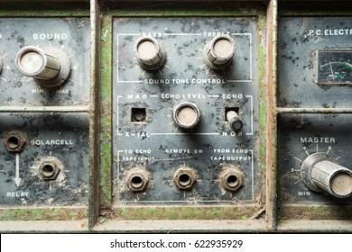 Old Sound Tone control knob of Amplifier closeup shot