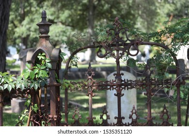 Old southern graveyard cemetery iron gate fence handle knob