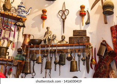 Old souvenirs and historical artifacts at a bazaar in the city of Bukhara