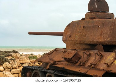 Old Soviet tanks in Socotra World Heritage Site in Yemen