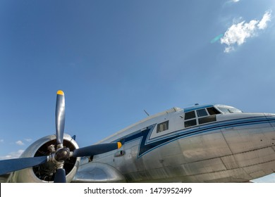 Old soviet twin-engine turboprop airplane