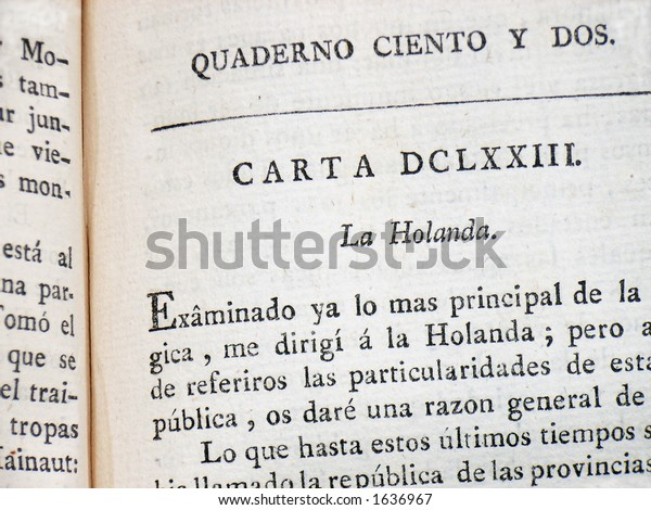 Old Spanish Book Stock Photo (Edit Now) 1636967
