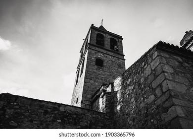 old spanish christian church in blackwhite