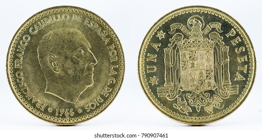 Old Spanish coin of 1 peseta, Francisco Franco. Coined in copper. Year 1966, 1975 in the stars.