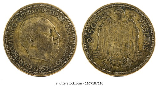Old Spanish coin of 2,50 pesetas, Francisco Franco. Year 1953, 19 54 in the stars.