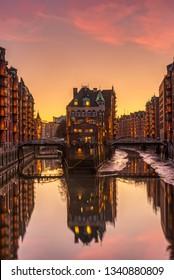 The old Speicherstadt in Hamburg, Germany, at sunset