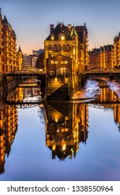 The old Speicherstadt in Hamburg, Germany, at twilight
