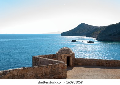 Old Spinalonga Island Fortress Defensive Tower, Crete Greece