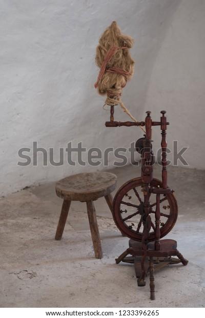 Pleasing Old Spinning Wheel Wooden Stool Almost Stock Photo Edit Now Creativecarmelina Interior Chair Design Creativecarmelinacom